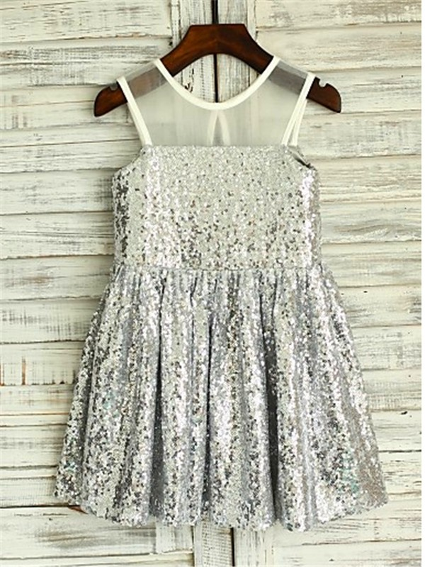 A-line Scoop Sleeveless Tea-length Sequins Flower Girl Dress