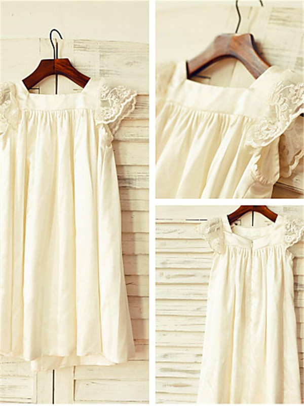 Princess Scoop Short Sleeves Lace Tea-Length Chiffon Flower Girl Dress
