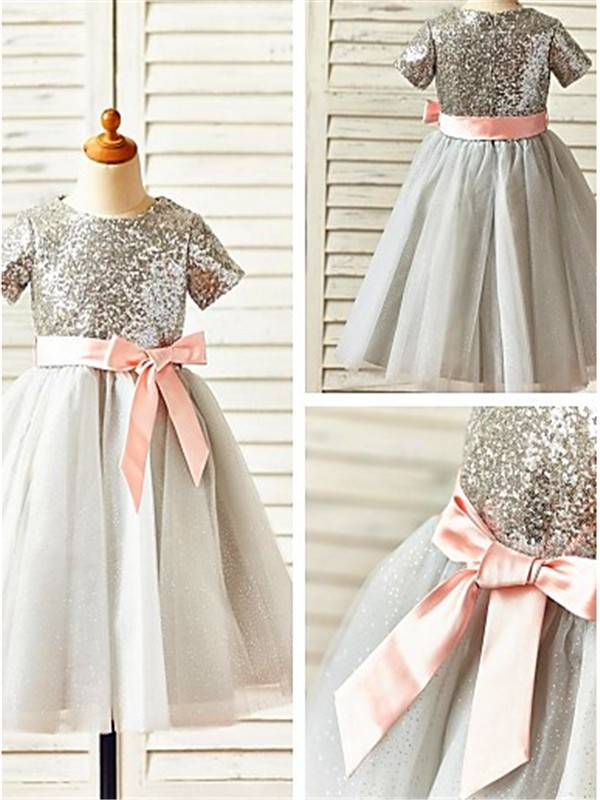 A-line Scoop Short Sleeves Tea-Length Tulle Flower Girl Dress