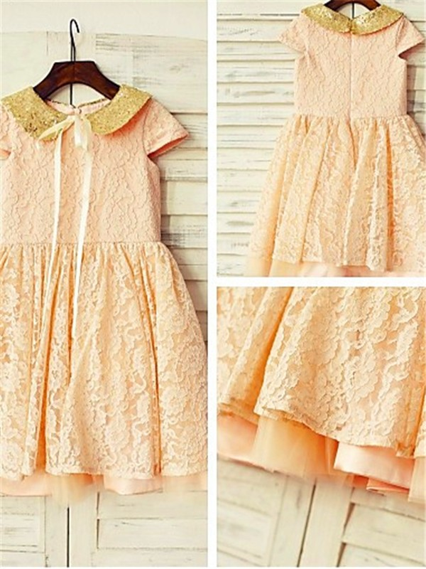 A-line Short Sleeves Scoop Tea-Length Lace Flower Girl Dress