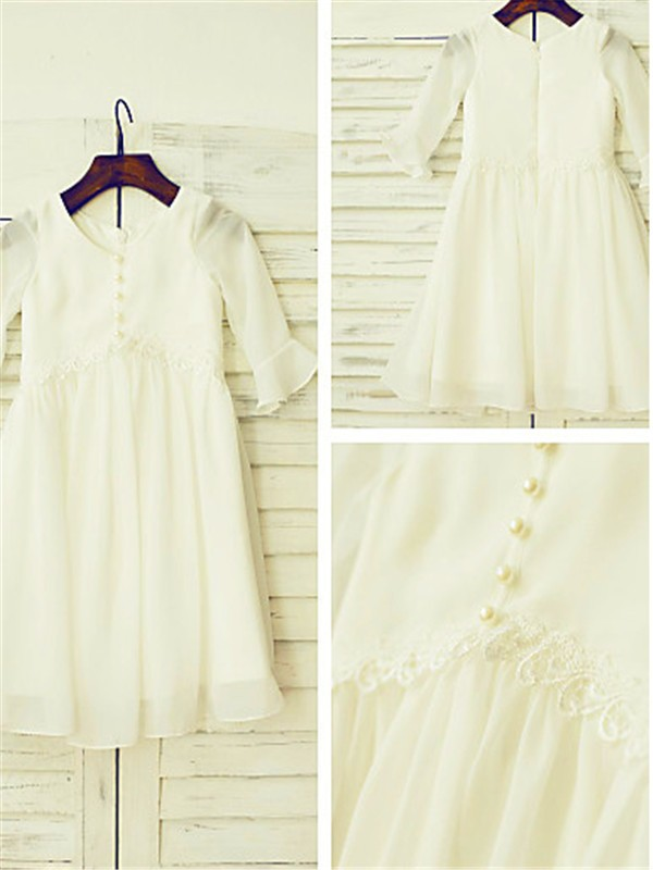 A-line Scoop Long Sleeves Tea-length Chiffon Flower Girl Dress