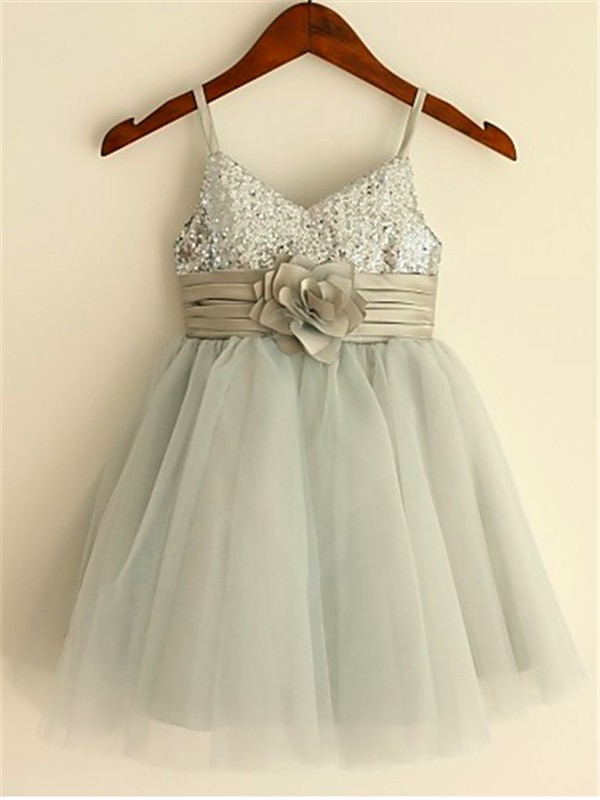 Princess Spaghetti Straps Sleeveless Tea-Length Tulle Flower Girl Dress