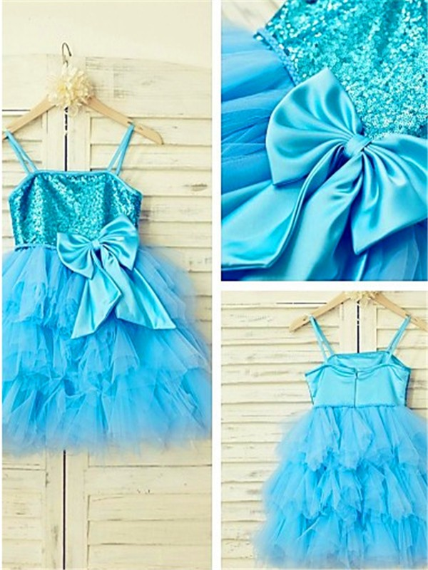 A-line Spaghetti Straps Sleeveless Tea-Length Net Flower Girl Dress