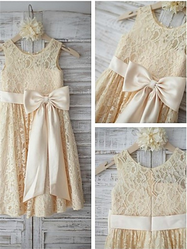 A-line Sleeveless Scoop Knee-Length Lace Flower Girl Dress