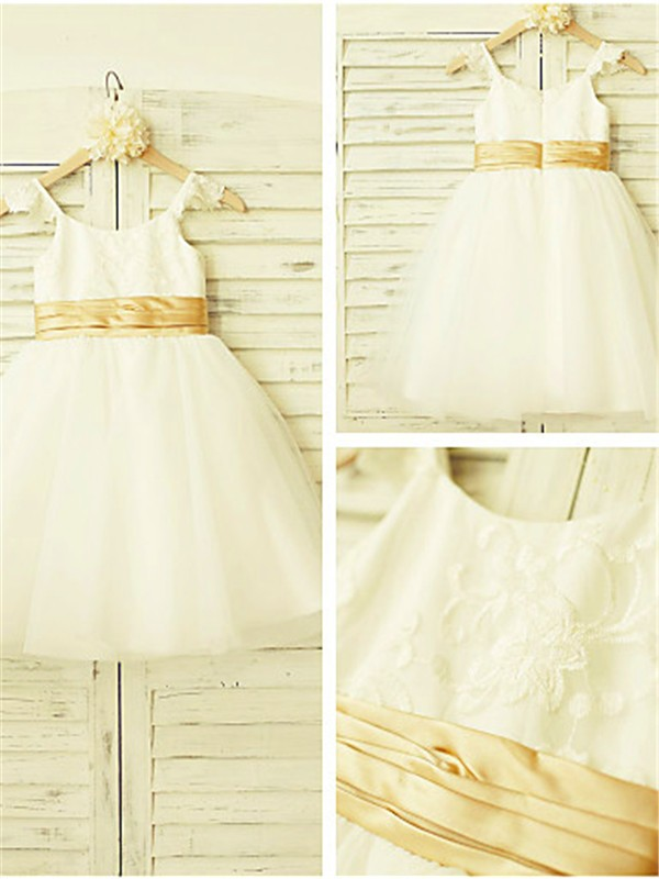 A-line Spaghetti Straps Sleeveless Lace Tea-Length Tulle Flower Girl Dress