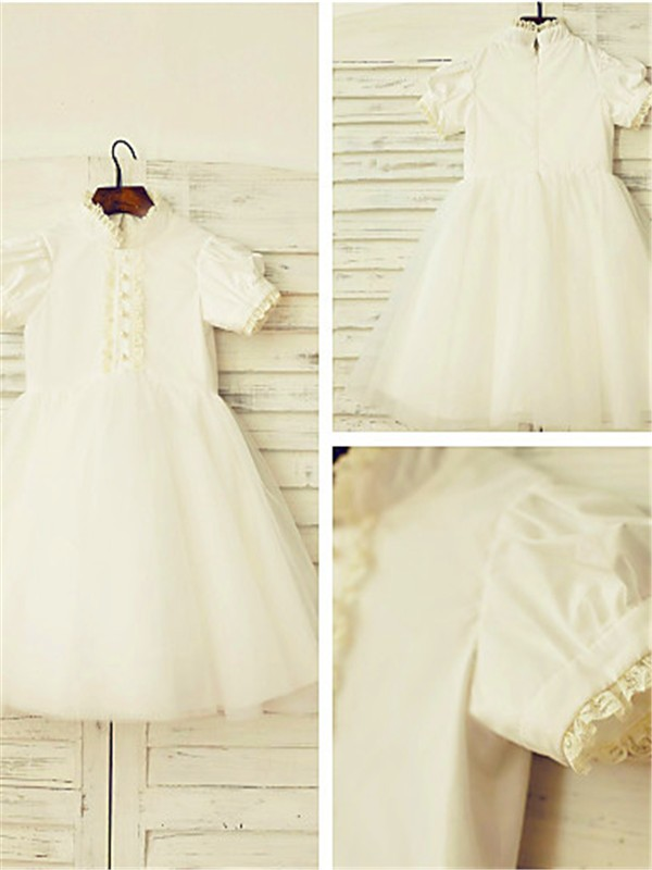 A-line High Neck Short Sleeves Lace Tea-Length Tulle Flower Girl Dress