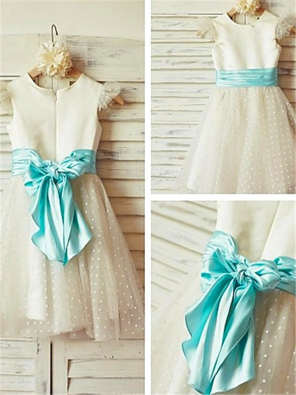 A-line Jewel Sleeveless Layers Tea-Length Tulle Flower Girl Dress