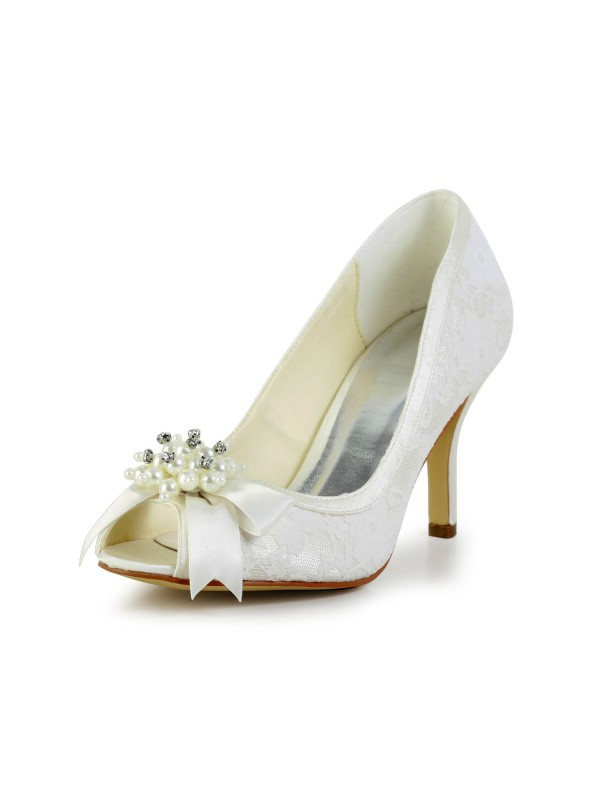 Women's Satin Stiletto Heel Pumps with Imitation Pearl and Bowknot Ivory Wedding Shoes
