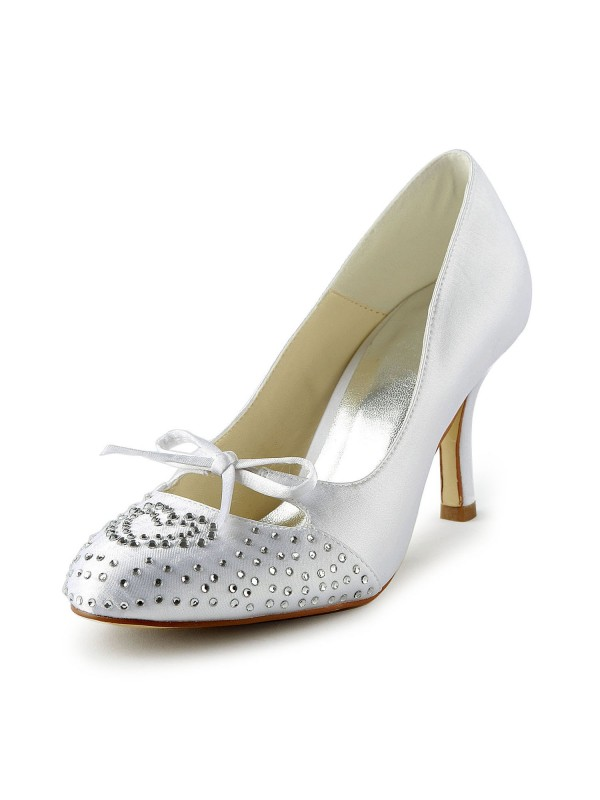 Women's Lovely Satin Stiletto Heel Closed Toe With Rhinestone White Wedding Shoes