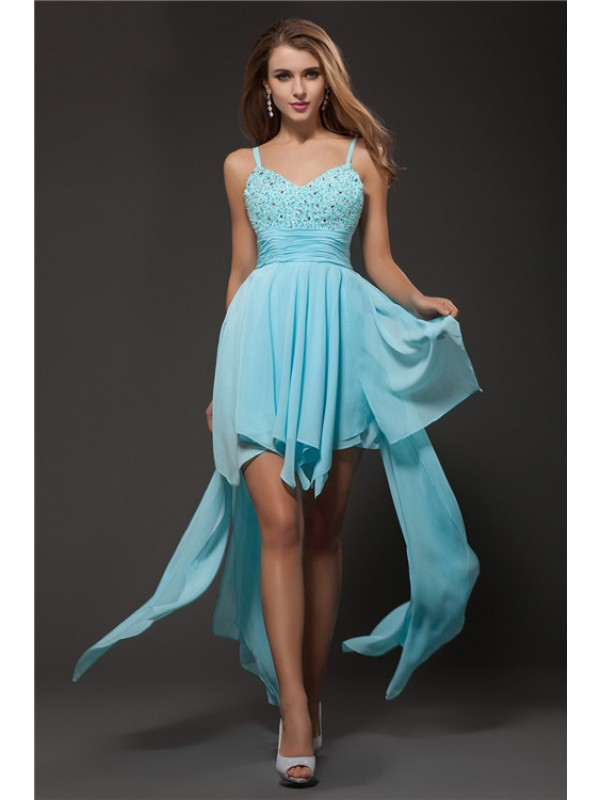 A-Line/Princess Spaghetti Straps Sleeveless Rhinestone Chiffon Cocktail Dresses