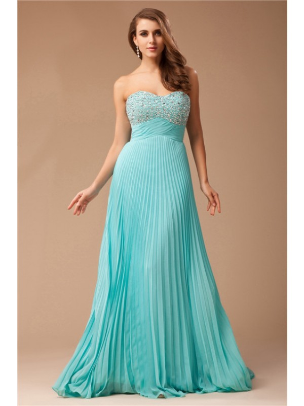 Empire Sweetheart Long Chiffon Beading Sleeveless Dresses