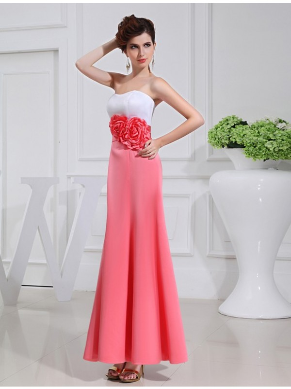 A-Line/Princess Hand-made Flower Sleeveless Satin Long Bridesmaid Dresses