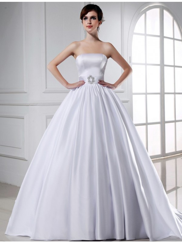 Ball Gown Beading Strapless Sleeveless Long Satin Wedding Dresses