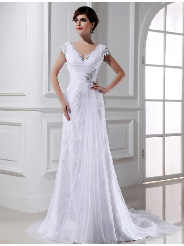 A-Line/Princess Beading V-neck Long Sleeveless Tulle Wedding Dresses