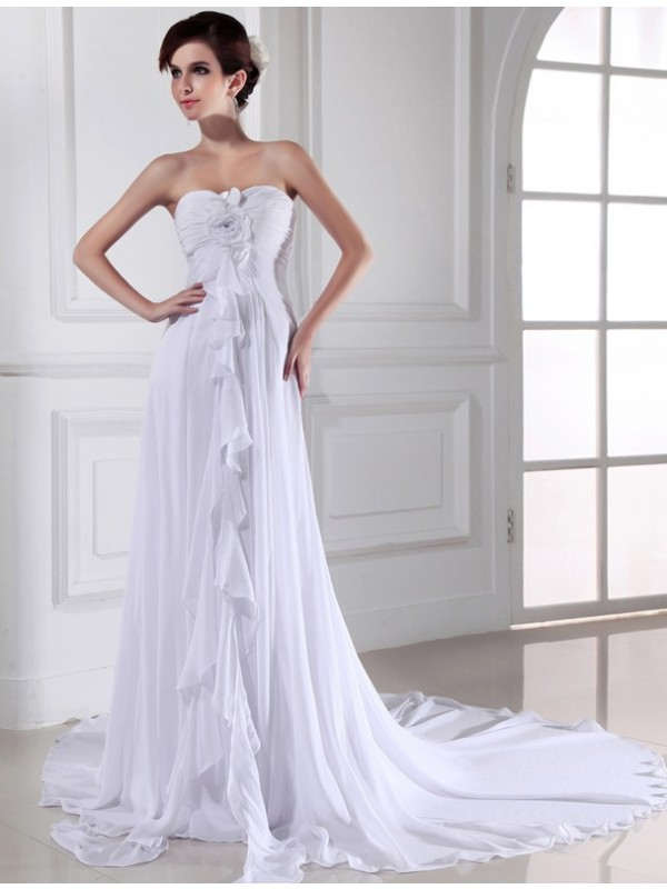 Sheath/Column Hand-made Flower Sweetheart Sleeveless Chiffon Long Wedding Dresses