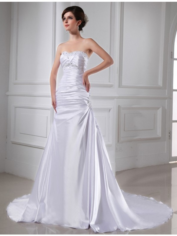 A-Line/Princess Beading Applique Sleeveless Elastic Woven Satin Wedding Dresses