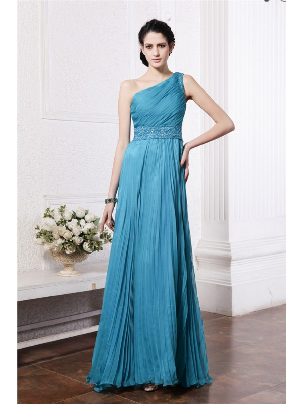 Sheath/Column One-Shoulder Sleeveless Beading Pleats Long Chiffon Bridesmaid Dresses