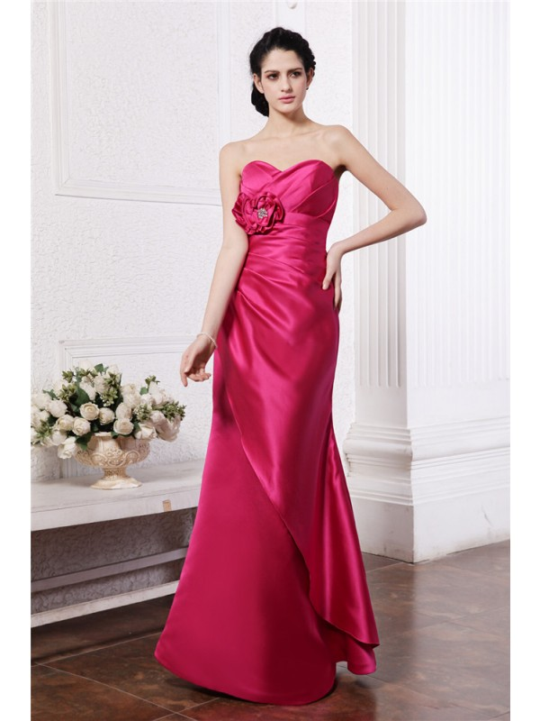 Sheath/Column Sweetheart Sleeveless Pleats Hand-Made Flower Long Elastic Woven Satin Bridesmaid Dresses