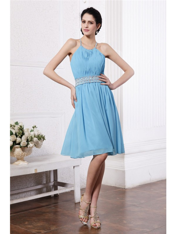 Sheath/Column Halter Sleeveless Beading Pleats Short Chiffon Bridesmaid Dresses