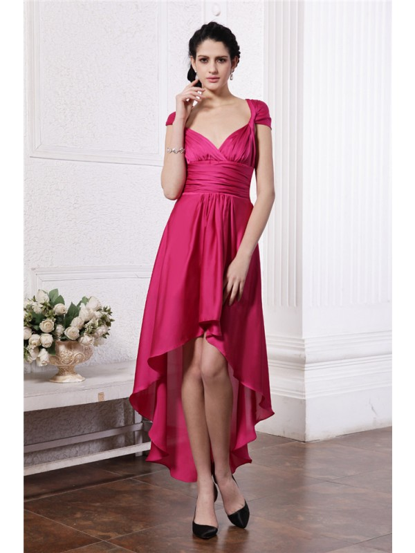 Sheath/Column Pleats High Low Chiffon Straps Damask Cocktail Dresses