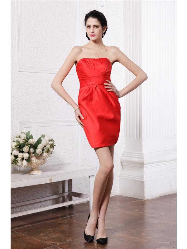 Sheath/Column Strapless Sleeveless Pleats Short Elastic Woven Satin Bridesmaid Dresses