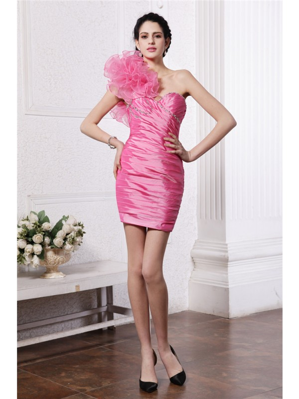 Sheath/Column One-Shoulder Sleeveless Beading Ruffles Short Taffeta Cocktail Dresses
