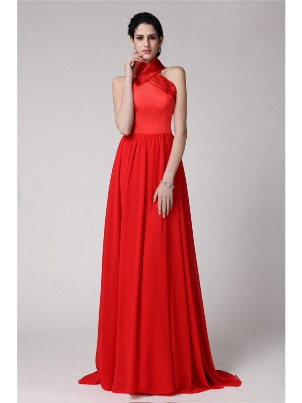 Sheath/Column Halter Sleeveless Pleats Long Elastic Woven Satin Chiffon Bridesmaid Dresses