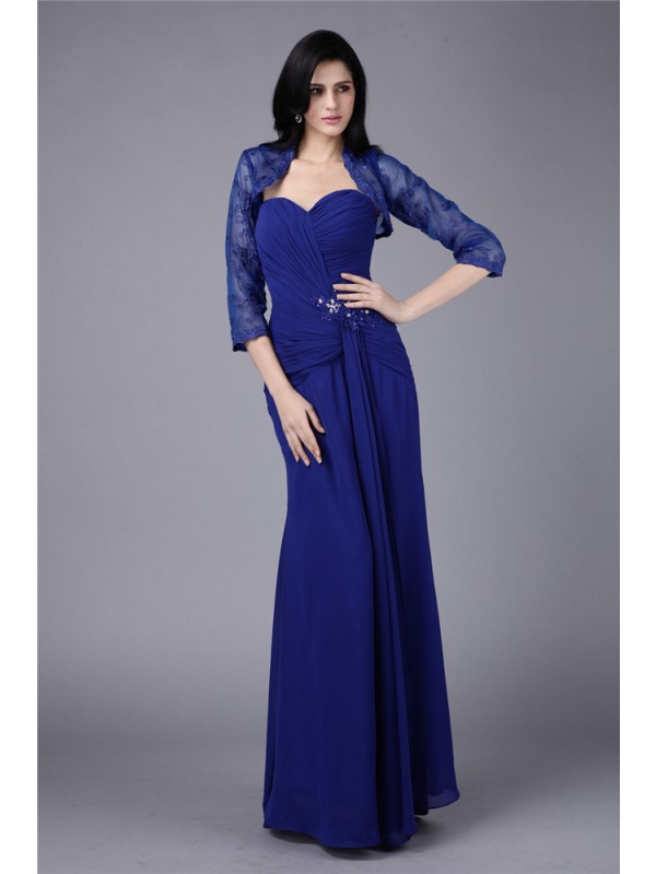 Sheath/Column Sweetheart Beading Applique Chiffon Mother of the Bride Dresses