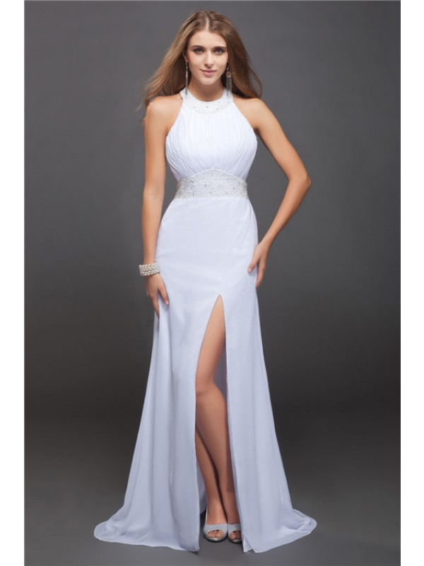 Sheath/Column Jewel Sleeveless Beading Ruffles Long Chiffon Dresses