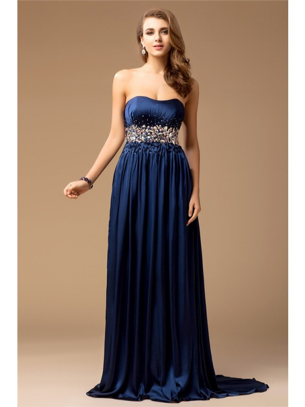 Sheath/Column Strapless Sleeveless Long Rhinestone Silk like Satin Dresses