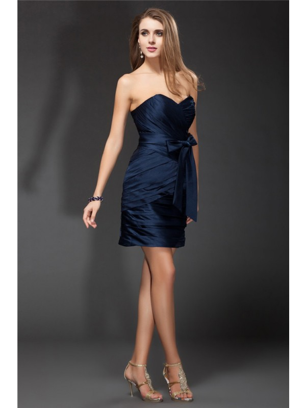 Sheath/Column Sweetheart Sleeveless Bowknot Ruffles Short Satin Bridesmaid Dresses