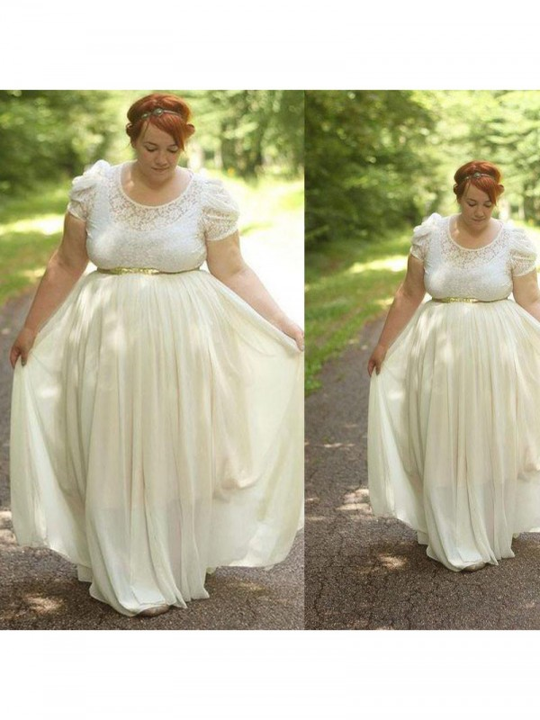 A-Line Scoop Short Sleeves Lace Floor-Length Chiffon Plus Size Dresses