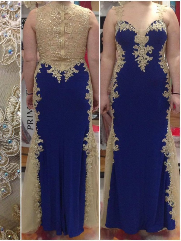 Sheath Straps Sleeveless Applique Floor-Length Elastic Woven Satin Plus Size Dresses