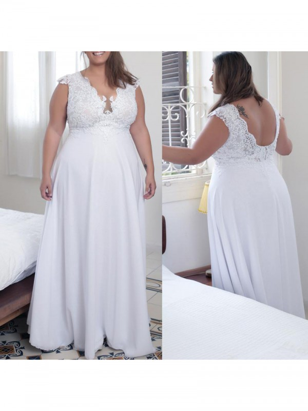A-Line V-neck Sleeveless Applique Floor-Length Chiffon Plus Size Dresses