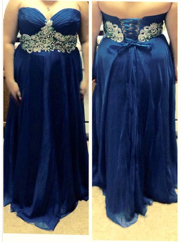 A-Line Sweetheart Sleeveless Beading Floor-Length Chiffon Plus Size Dresses
