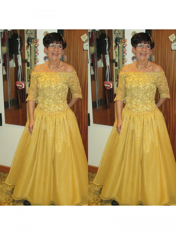 A-Line Off-the-Shoulder 1/2 Sleeves Beading Floor-Length Tulle Mother Of The Bride Dresses