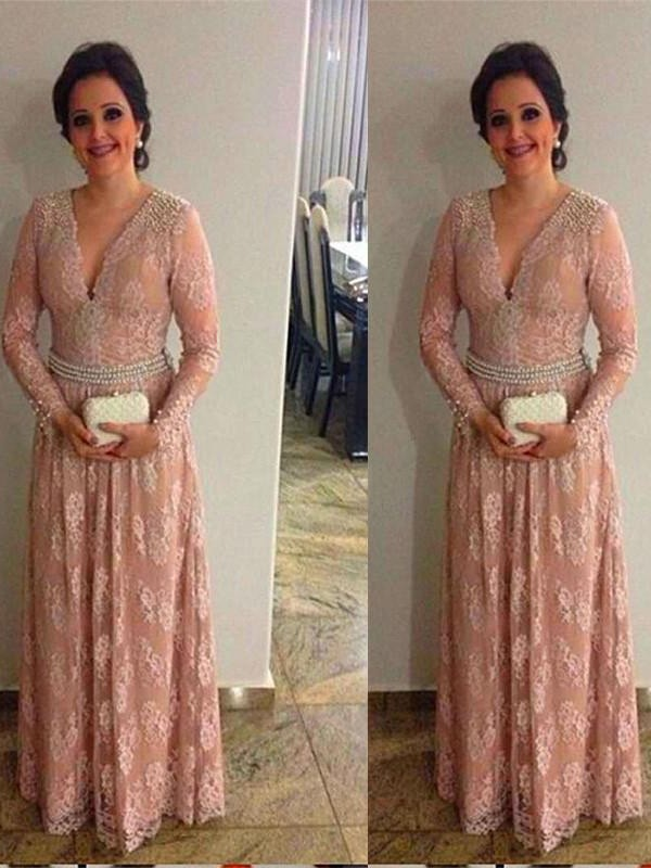 A-Line V-neck Long Sleeves Beading Floor-Length Lace Mother Of The Bride Dresses