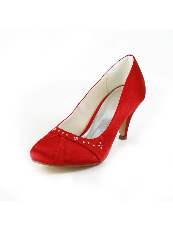 Women's Nice Satin Cone Heel Closed Toe Red Wedding Shoes With Rhinestone