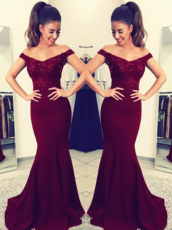Mermaid Off-the-Shoulder Sleeveless Sweep/Brush Train Lace Satin Dresses
