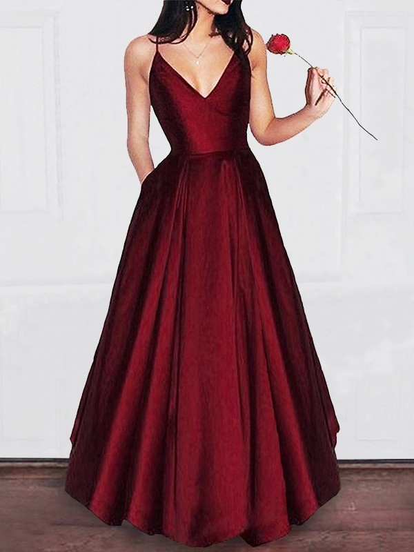 A-Line V-neck Floor-Length Satin Sleeveless Ruffles Dresses