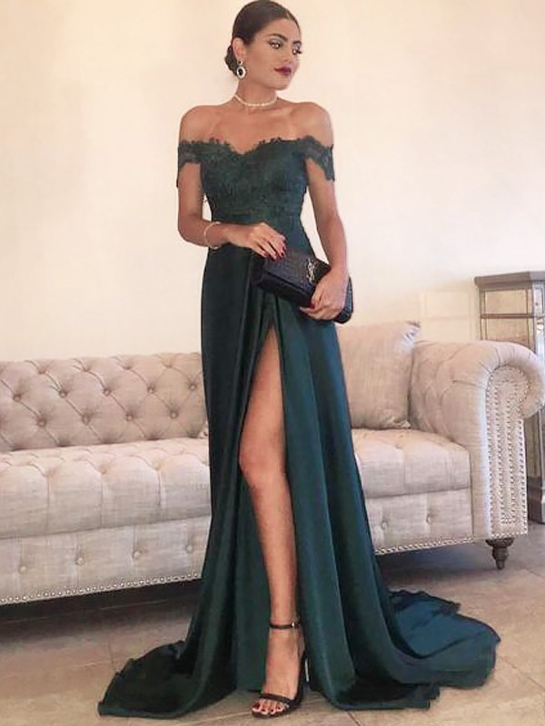 A-Line Off-the-Shoulder Sleeveless Sweep/Brush Train Lace Satin Dresses
