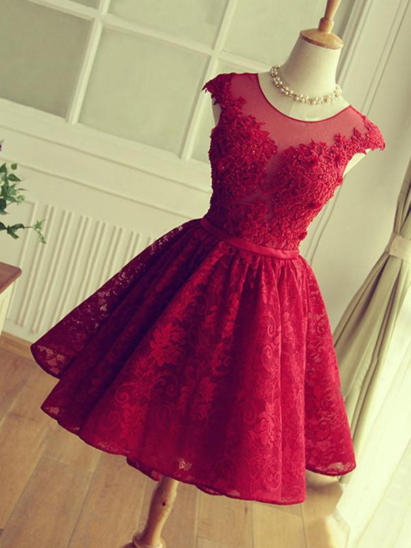 A-Line/Princess Short/Mini Sleeveless Lace Jewel Applique Dresses