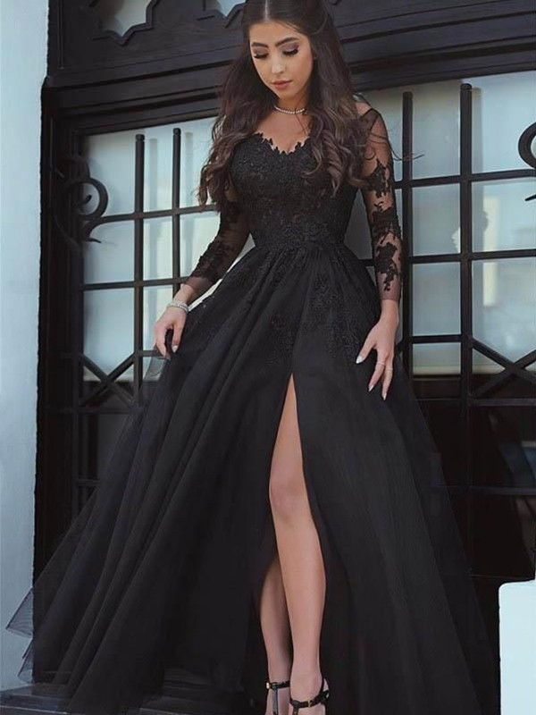 Ball Gown Long Sleeves Off-the-Shoulder Sweep/Brush Train Lace Applique Dresses