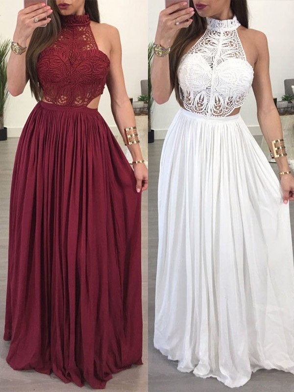A-Line Sleeveless Halter Floor-Length Chiffon Lace Dresses