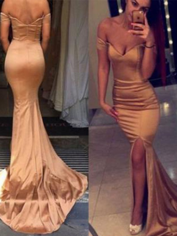 Mermaid Sleeveless Off-the-Shoulder Court Train Satin Dresses