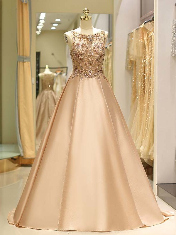 Ball Gown Sleeveless Bateau Sweep/Brush Train Beading Satin Dresses