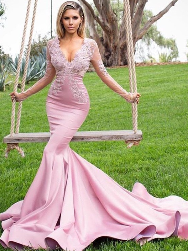 Mermaid Long Sleeves V-neck Sweep/Brush Train Applique Satin Dresses