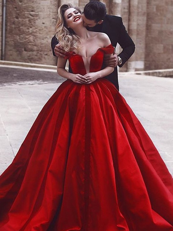 Ball Gown Sleeveless Off-the-Shoulder Sweep/Brush Train Ruffles Satin Dresses