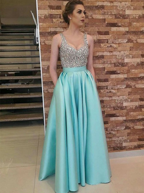 A-Line Sleeveless V-neck Floor-Length Beading Satin Dresses