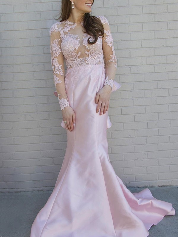 Trumpet/Mermaid Satin Scoop Applique Long Sleeves Sweep/Brush Train Dresses